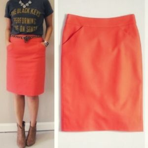 J.CREW Coral Pencil Skirt with Pockets Size: 4